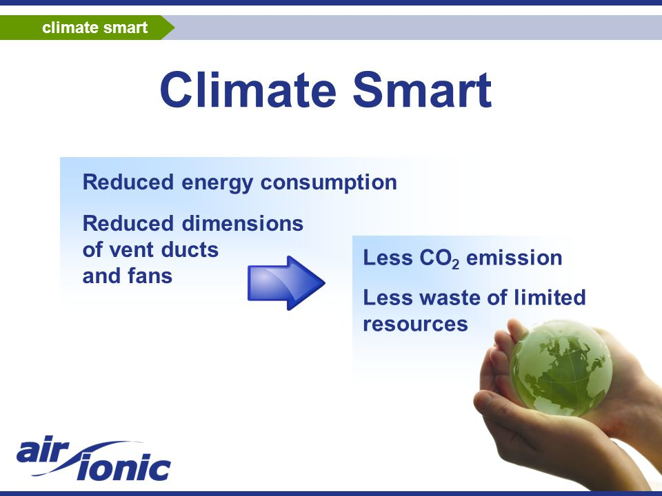 Climate Smart Reduced energy consumption Reduced dimensions of vent ducts and fans Less CO 2 emission Less waste of limited resources climate smart