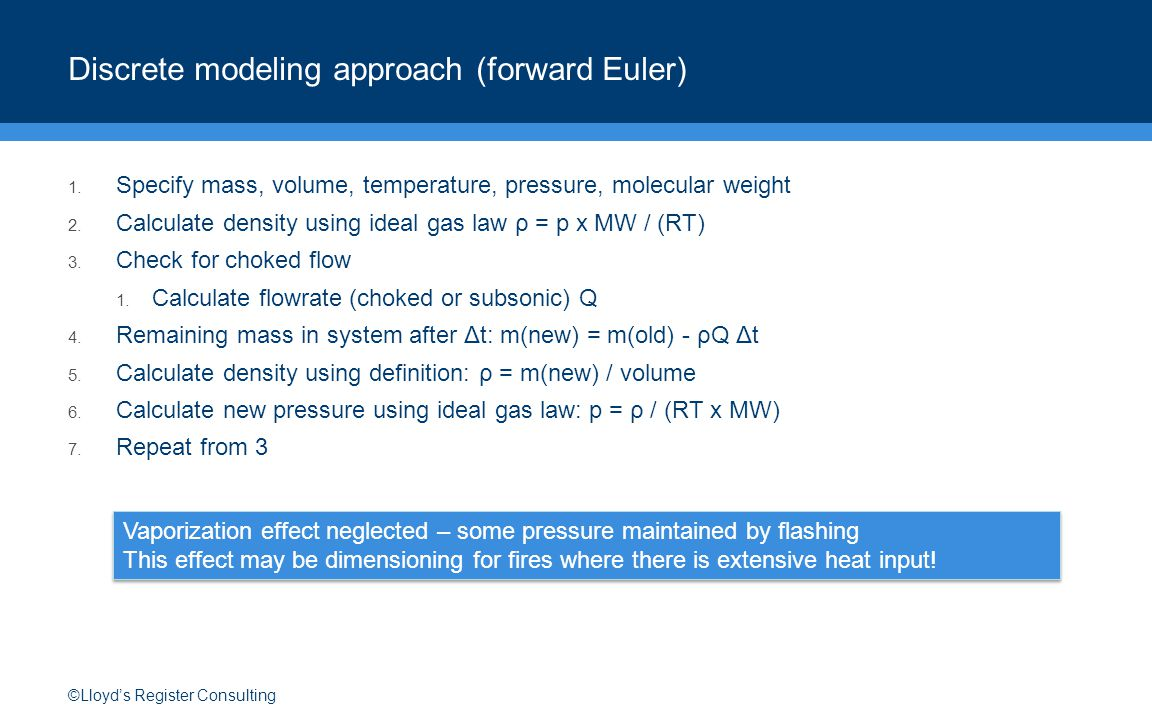 ©Lloyd's Register Consulting Discrete modeling approach (forward Euler) 1.