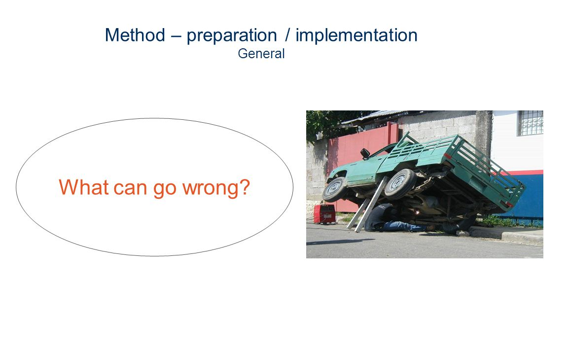 Method – preparation / implementation General What can go wrong