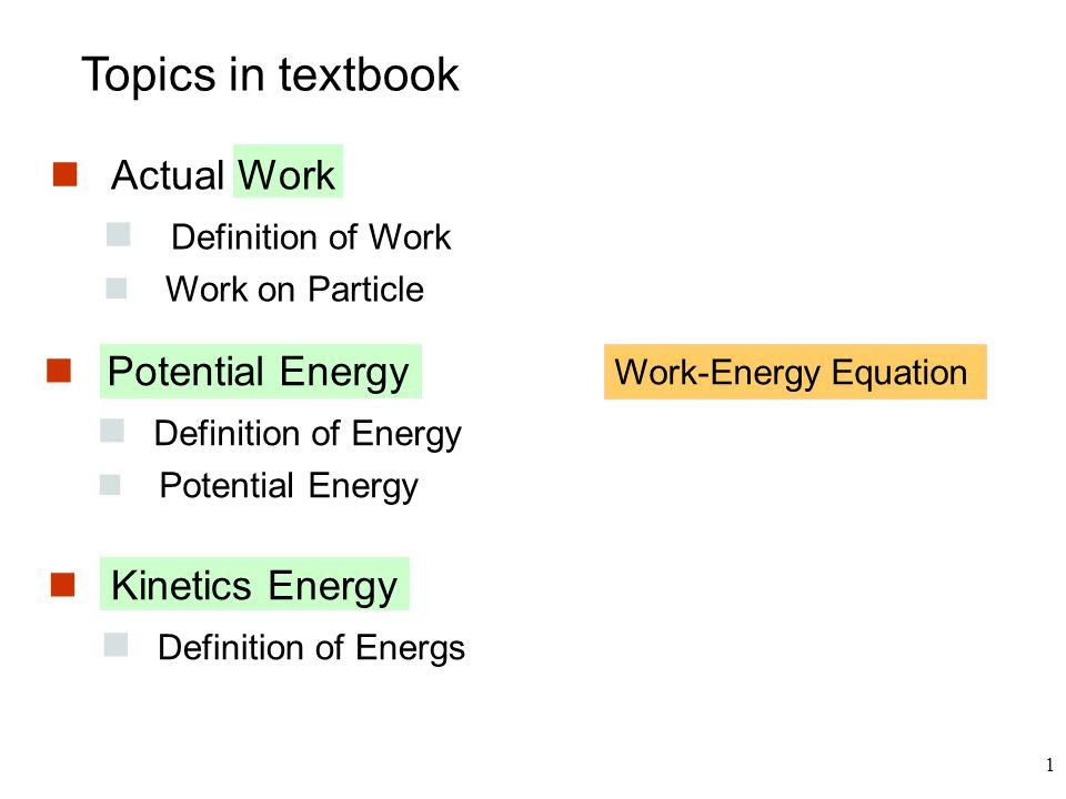 12 Kinetics Energy Principle of work and Energy A path  T is the work done on a particle to accelerate it from rest to the velocity v  Unit of T is N-m or Joule (J)  No need to find acceleration first  it can be applied to system of particles with frictionless and non-deformable links Advantage  Get change in velocity directly from active forces.