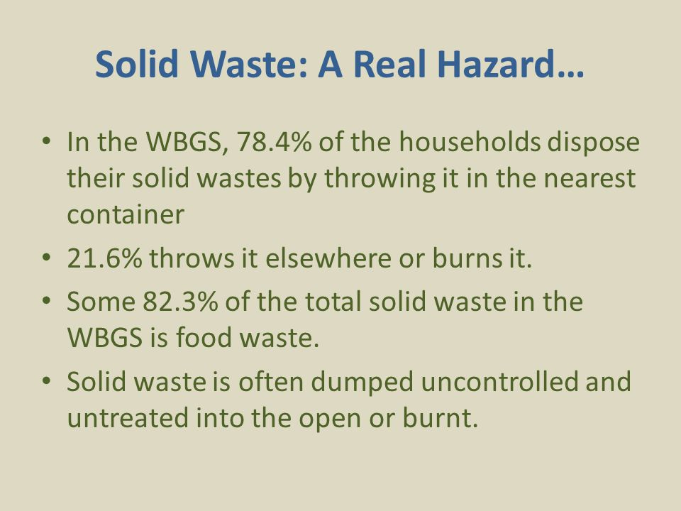 Solid Waste: A Real Hazard… In the WBGS, 78.4% of the households dispose their solid wastes by throwing it in the nearest container 21.6% throws it elsewhere or burns it.