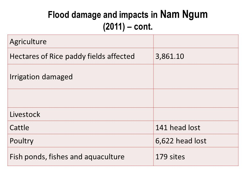 Agriculture Hectares of Rice paddy fields affected3,861.10 Irrigation damaged Livestock Cattle141 head lost Poultry6,622 head lost Fish ponds, fishes