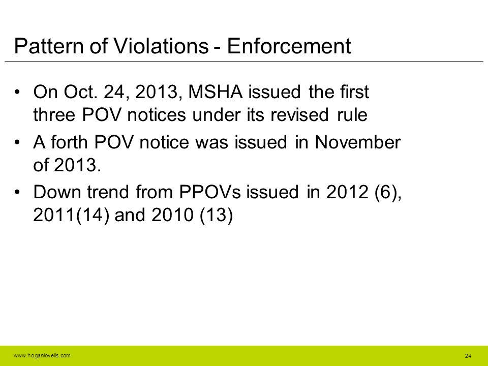 www.hoganlovells.com Pattern of Violations - Enforcement On Oct.
