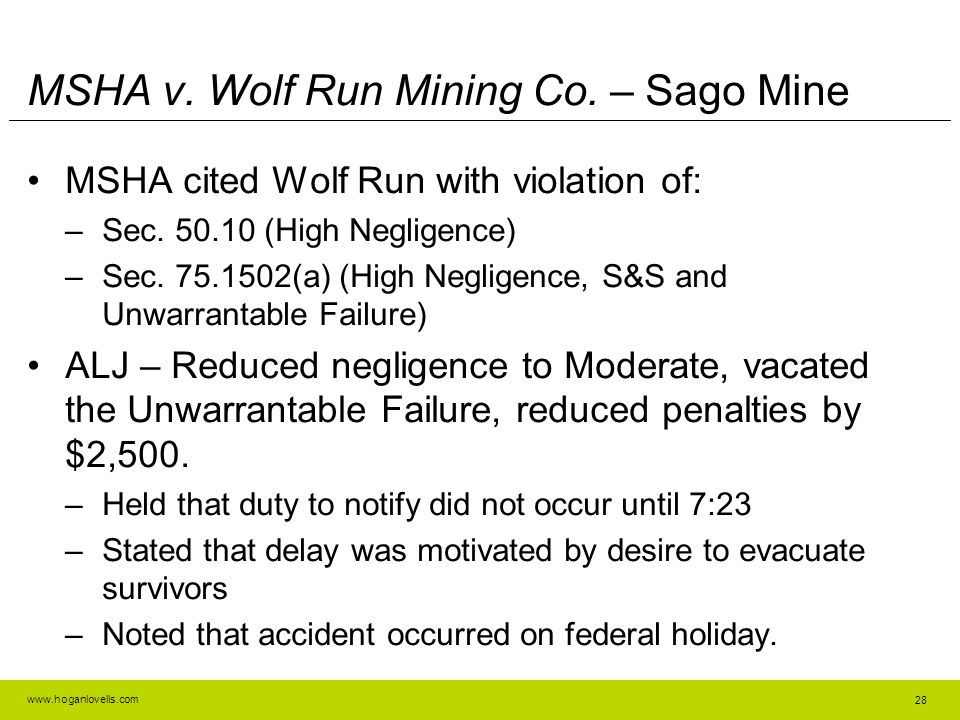 www.hoganlovells.com MSHA v.Wolf Run Mining Co.