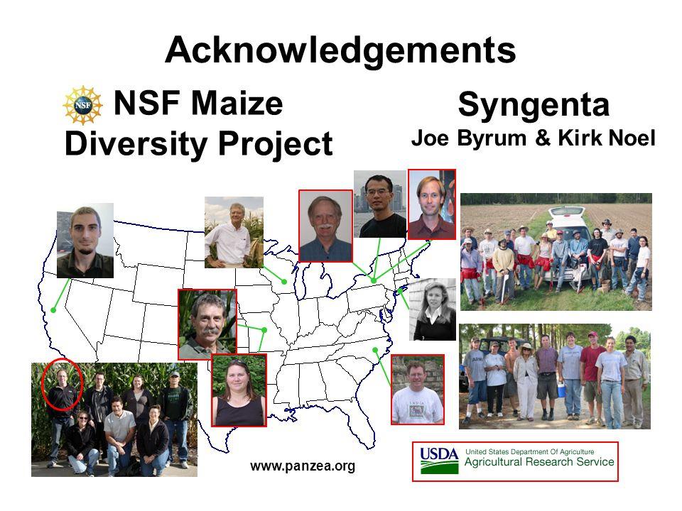 Acknowledgements www.panzea.org NSF Maize Diversity Project Syngenta Joe Byrum & Kirk Noel