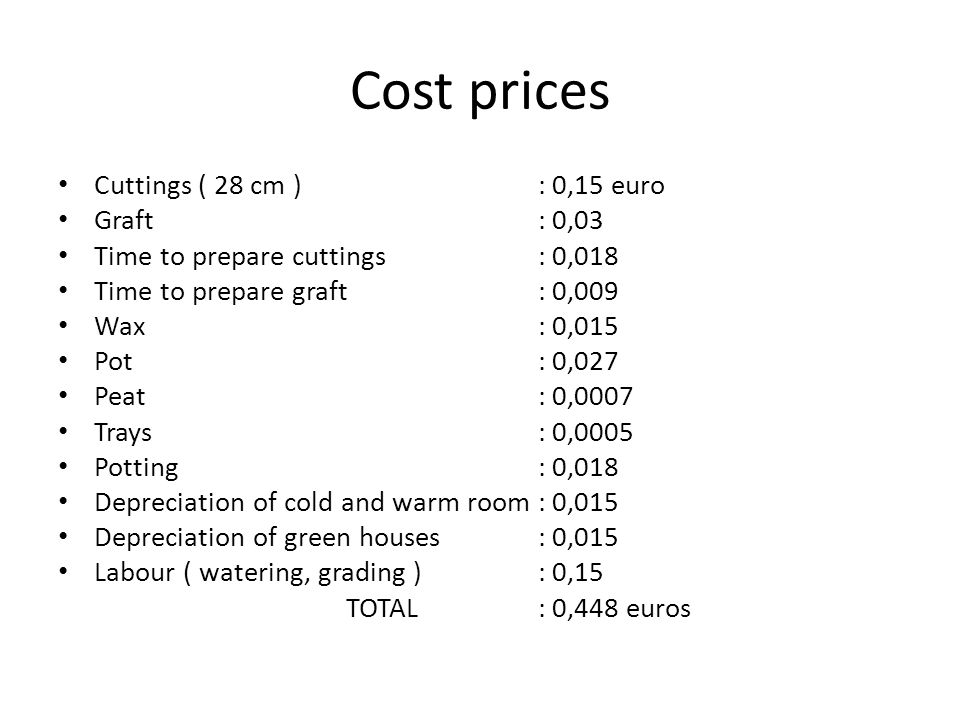 Cost prices Cuttings ( 28 cm ) : 0,15 euro Graft: 0,03 Time to prepare cuttings : 0,018 Time to prepare graft: 0,009 Wax : 0,015 Pot: 0,027 Peat : 0,0007 Trays: 0,0005 Potting: 0,018 Depreciation of cold and warm room : 0,015 Depreciation of green houses: 0,015 Labour ( watering, grading ): 0,15 TOTAL: 0,448 euros