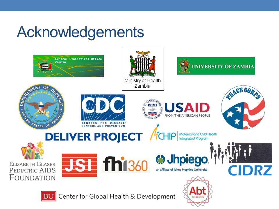 Acknowledgements Ministry of Health Zambia