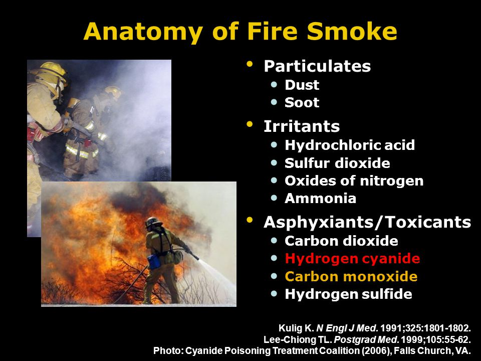 Anatomy of Fire Smoke Particulates Dust Soot Irritants Hydrochloric acid Sulfur dioxide Oxides of nitrogen Ammonia Asphyxiants/Toxicants Carbon dioxid