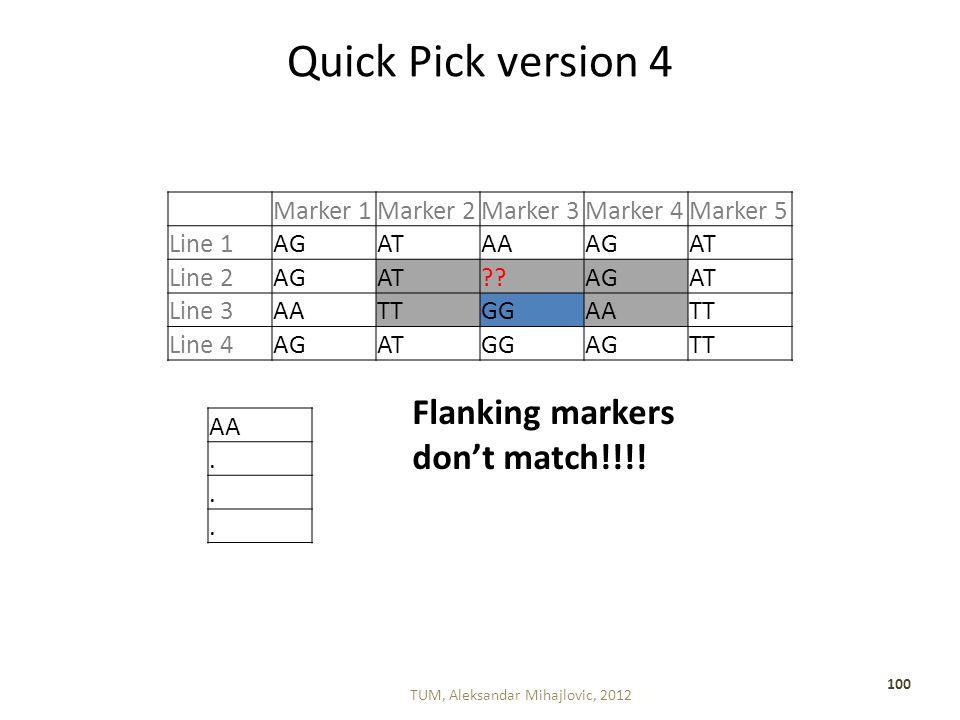 Quick Pick version 4 TUM, Aleksandar Mihajlovic, 2012 100 Marker 1Marker 2Marker 3Marker 4Marker 5 Line 1AGATAAAGAT Line 2AGAT AGAT Line 3AATTGGAATT Line 4AGATGGAGTT AA...