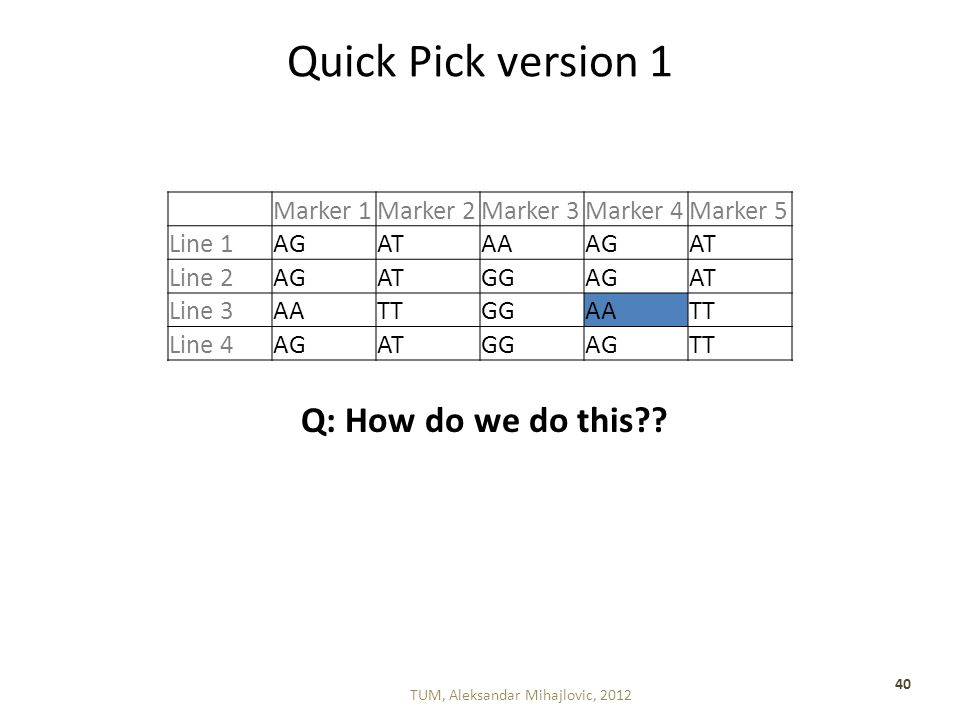 Quick Pick version 1 TUM, Aleksandar Mihajlovic, 2012 40 Marker 1Marker 2Marker 3Marker 4Marker 5 Line 1AGATAAAGAT Line 2AGATGGAGAT Line 3AATTGGAATT Line 4AGATGGAGTT Q: How do we do this