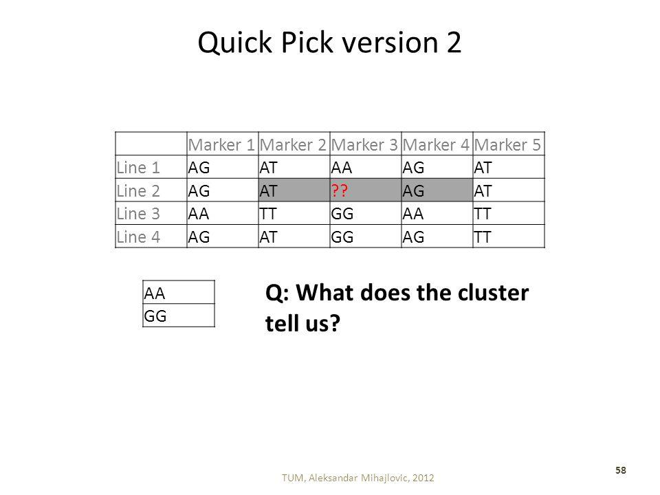 Quick Pick version 2 TUM, Aleksandar Mihajlovic, 2012 58 Marker 1Marker 2Marker 3Marker 4Marker 5 Line 1AGATAAAGAT Line 2AGAT AGAT Line 3AATTGGAATT Line 4AGATGGAGTT AA GG Q: What does the cluster tell us