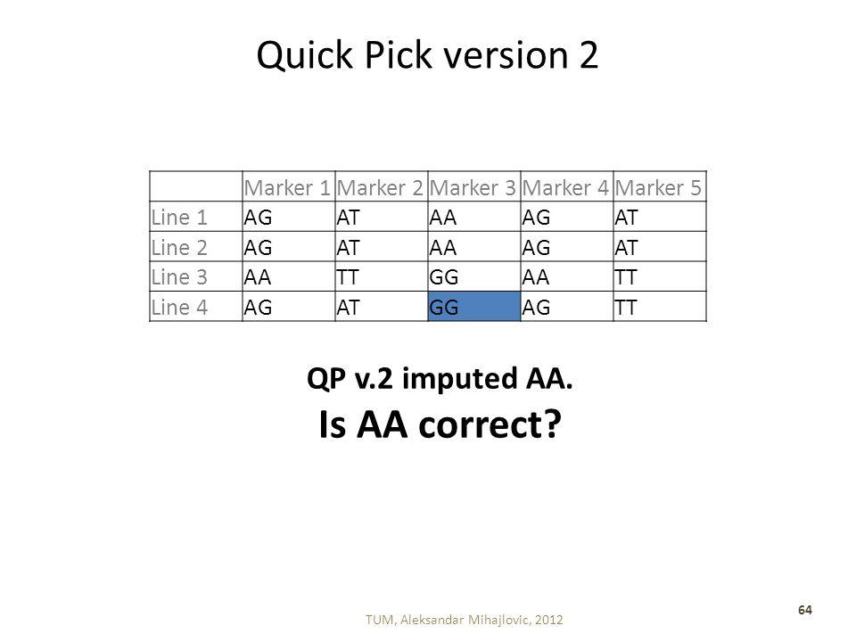 Quick Pick version 2 TUM, Aleksandar Mihajlovic, 2012 64 Marker 1Marker 2Marker 3Marker 4Marker 5 Line 1AGATAAAGAT Line 2AGATAAAGAT Line 3AATTGGAATT Line 4AGATGGAGTT QP v.2 imputed AA.