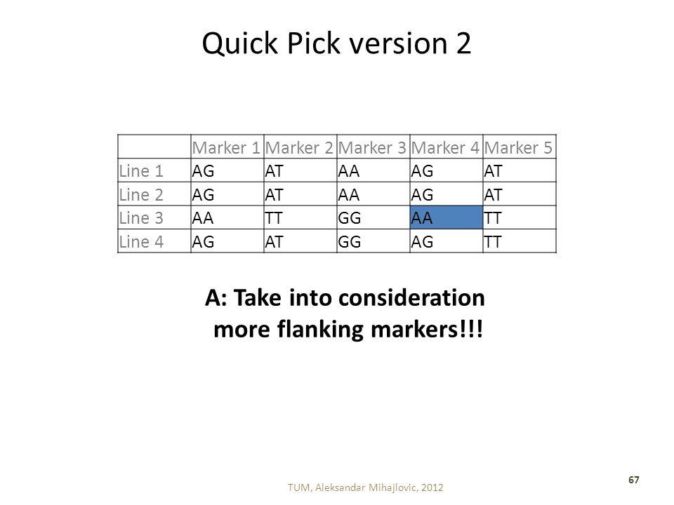 Quick Pick version 2 TUM, Aleksandar Mihajlovic, 2012 67 Marker 1Marker 2Marker 3Marker 4Marker 5 Line 1AGATAAAGAT Line 2AGATAAAGAT Line 3AATTGGAATT Line 4AGATGGAGTT A: Take into consideration more flanking markers!!!