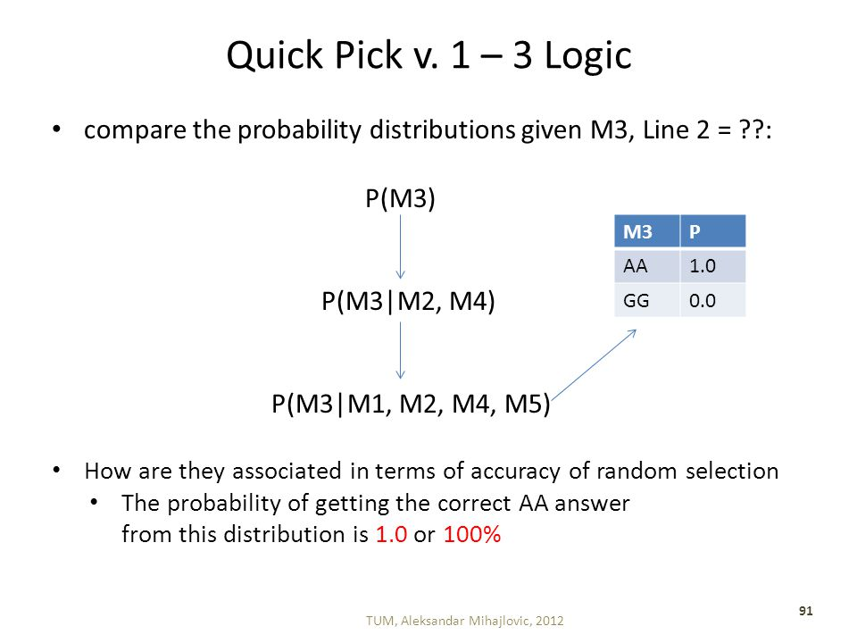 Quick Pick v. 1 – 3 Logic compare the probability distributions given M3, Line 2 = ??: P(M3) P(M3|M2, M4) P(M3|M1, M2, M4, M5) How are they associated