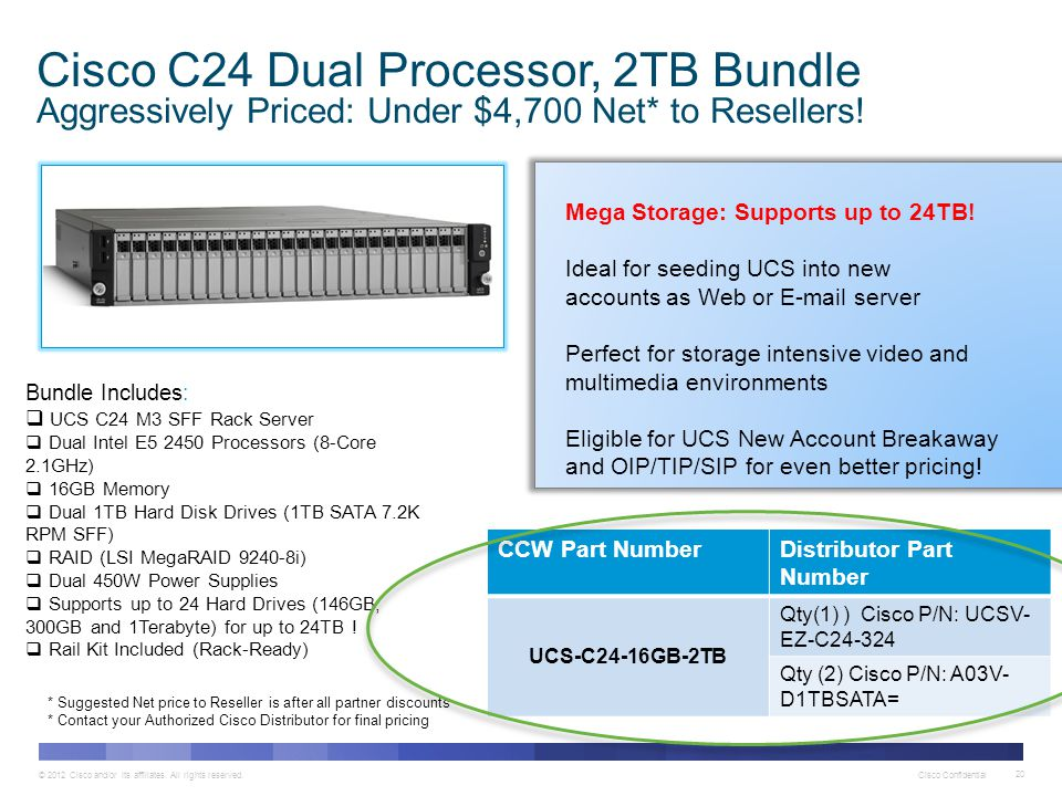 © 2012 Cisco and/or its affiliates. All rights reserved. Cisco Confidential 20 Cisco C24 Dual Processor, 2TB Bundle Aggressively Priced: Under $4,700