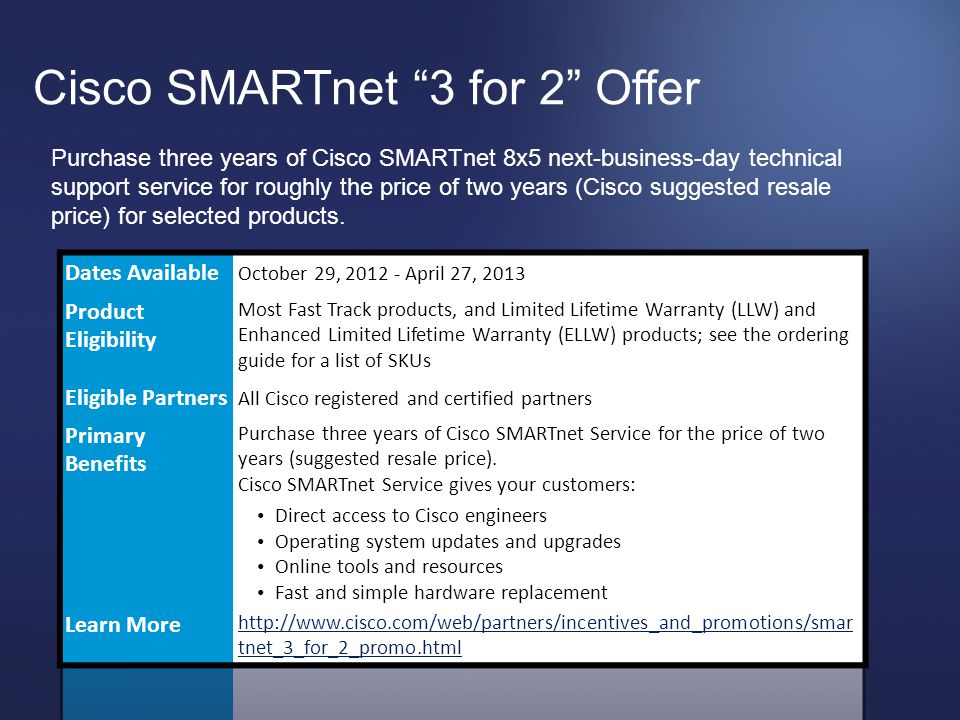 """© 2012 Cisco and/or its affiliates. All rights reserved. Cisco Confidential 62 Cisco SMARTnet """"3 for 2"""" Offer Purchase three years of Cisco SMARTnet 8"""
