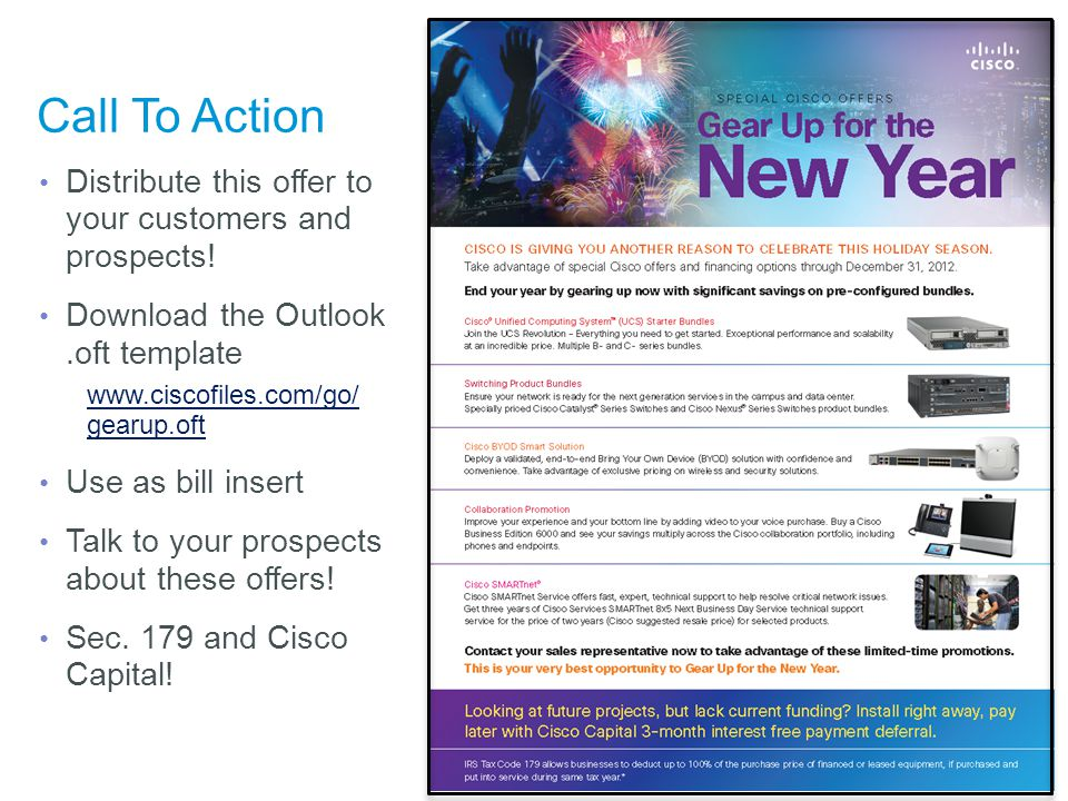 © 2012 Cisco and/or its affiliates. All rights reserved. Cisco Confidential 83 Call To Action Distribute this offer to your customers and prospects! D