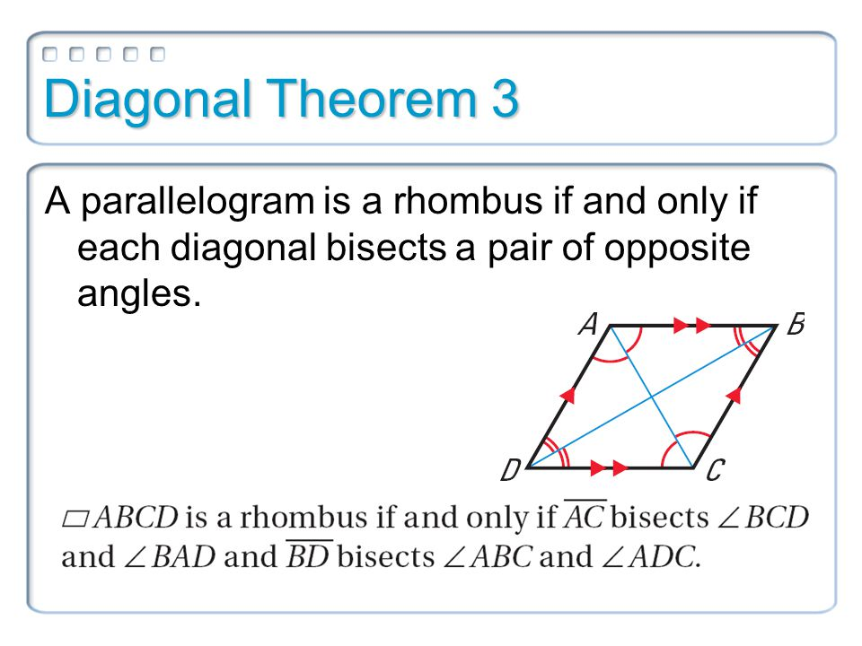 Diagonal Theorem 3 A parallelogram is a rhombus if and only if each diagonal bisects a pair of opposite angles.