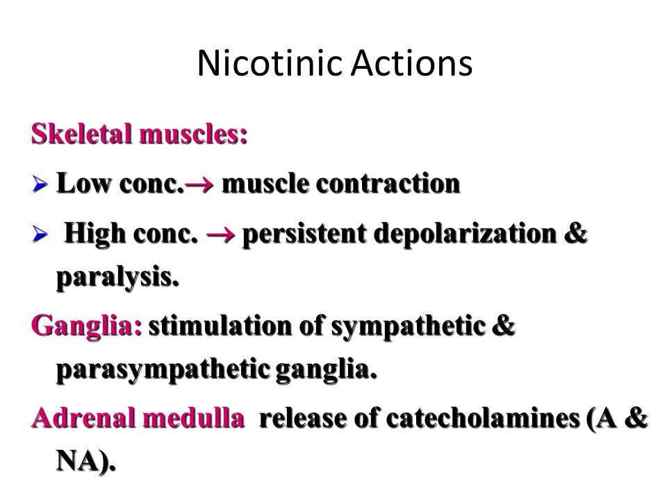 Based on the receptor type, Acetylcholine has two main effects: – 1) Cholinergic (cholinomimetics) actions – 2) Nicotinic Actions