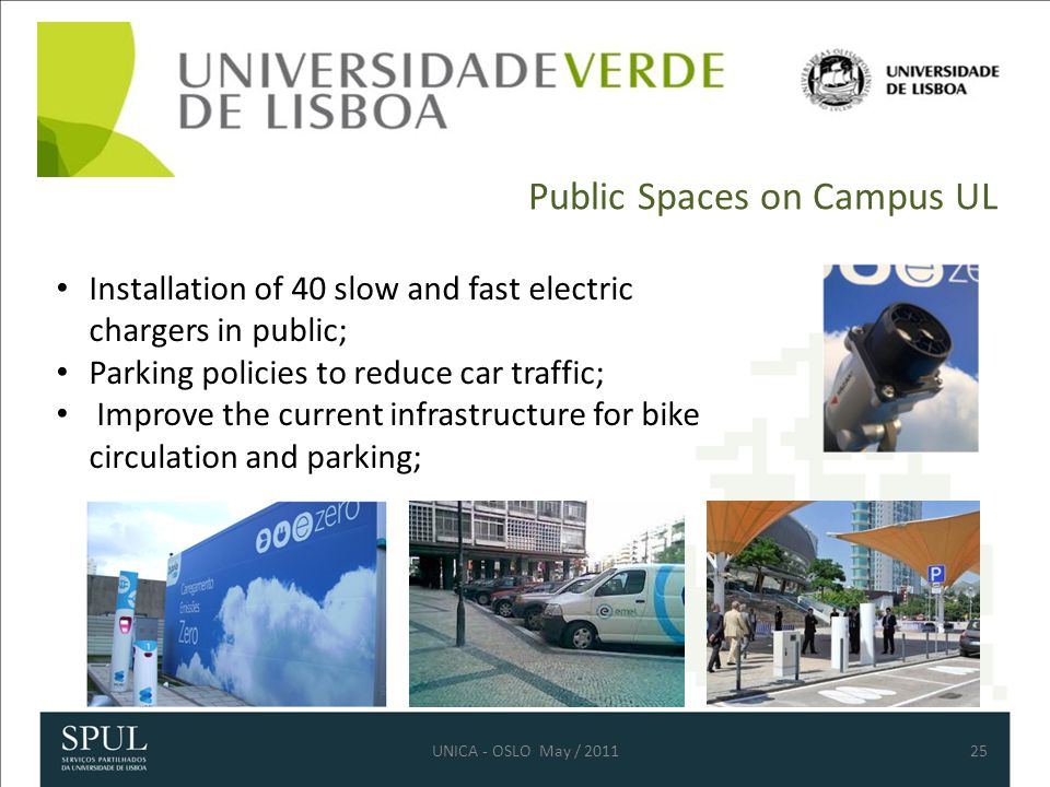 Public Spaces on Campus UL 25 Installation of 40 slow and fast electric chargers in public; Parking policies to reduce car traffic; Improve the current infrastructure for bike circulation and parking; UNICA - OSLO May / 2011