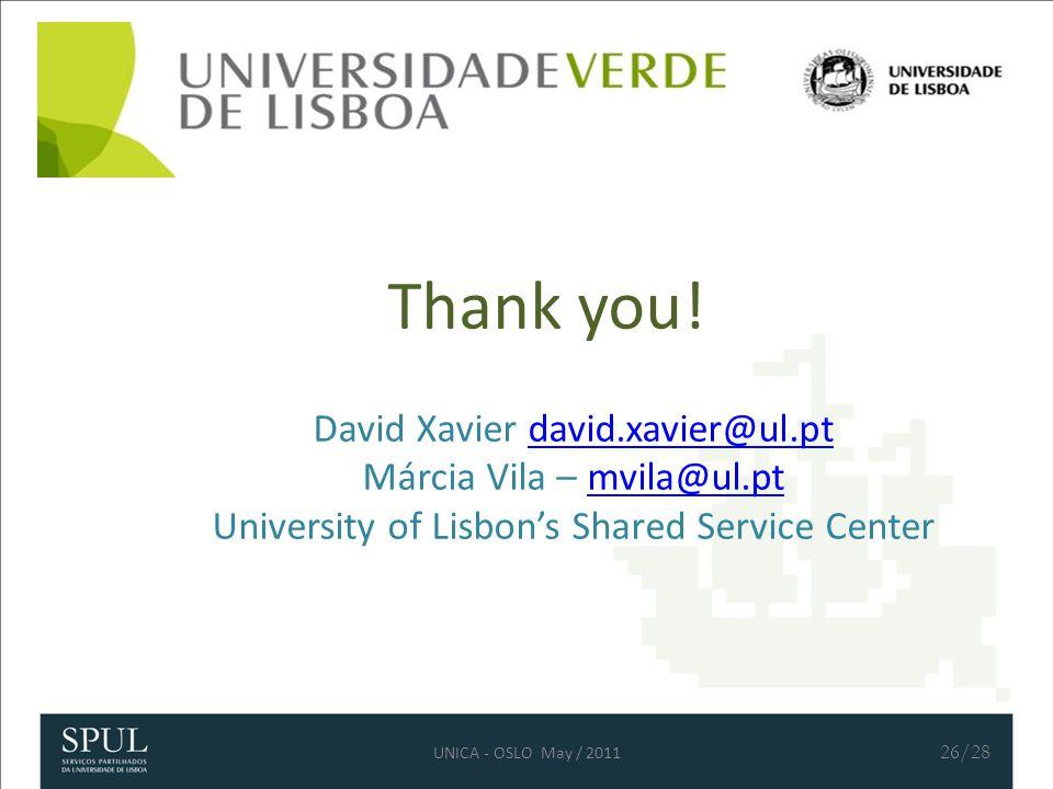 Thank you! David Xavier david.xavier@ul.ptdavid.xavier@ul.pt Márcia Vila – mvila@ul.ptmvila@ul.pt University of Lisbon's Shared Service Center 26/28 U