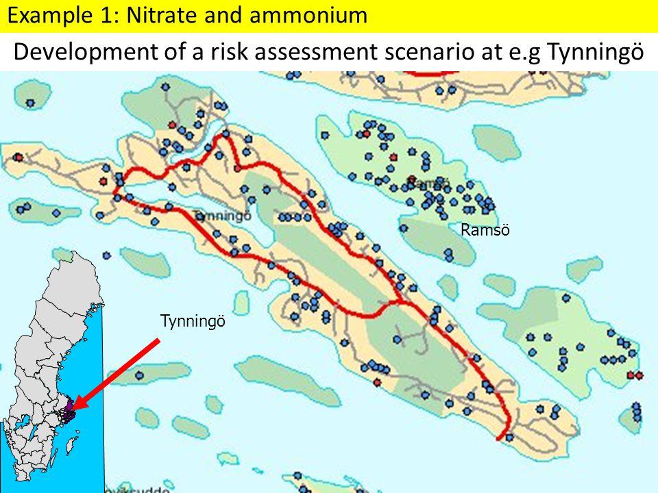 Development of a risk assessment scenario at e.g Tynningö Tynningö Ramsö Example 1: Nitrate and ammonium