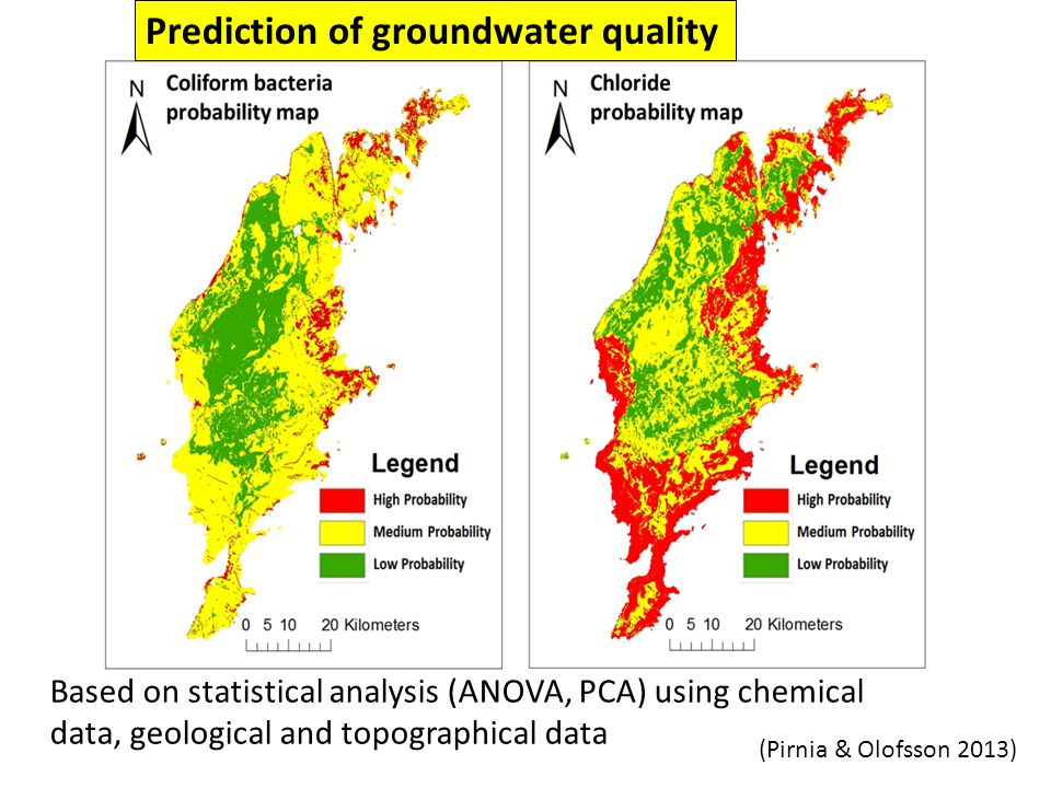 Based on statistical analysis (ANOVA, PCA) using chemical data, geological and topographical data Prediction of groundwater quality (Pirnia & Olofsson 2013)