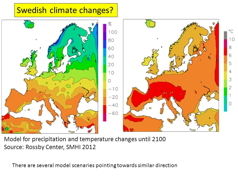 Model for precipitation and temperature changes until 2100 Source: Rossby Center, SMHI 2012 There are several model scenaries pointing towards similar direction Swedish climate changes