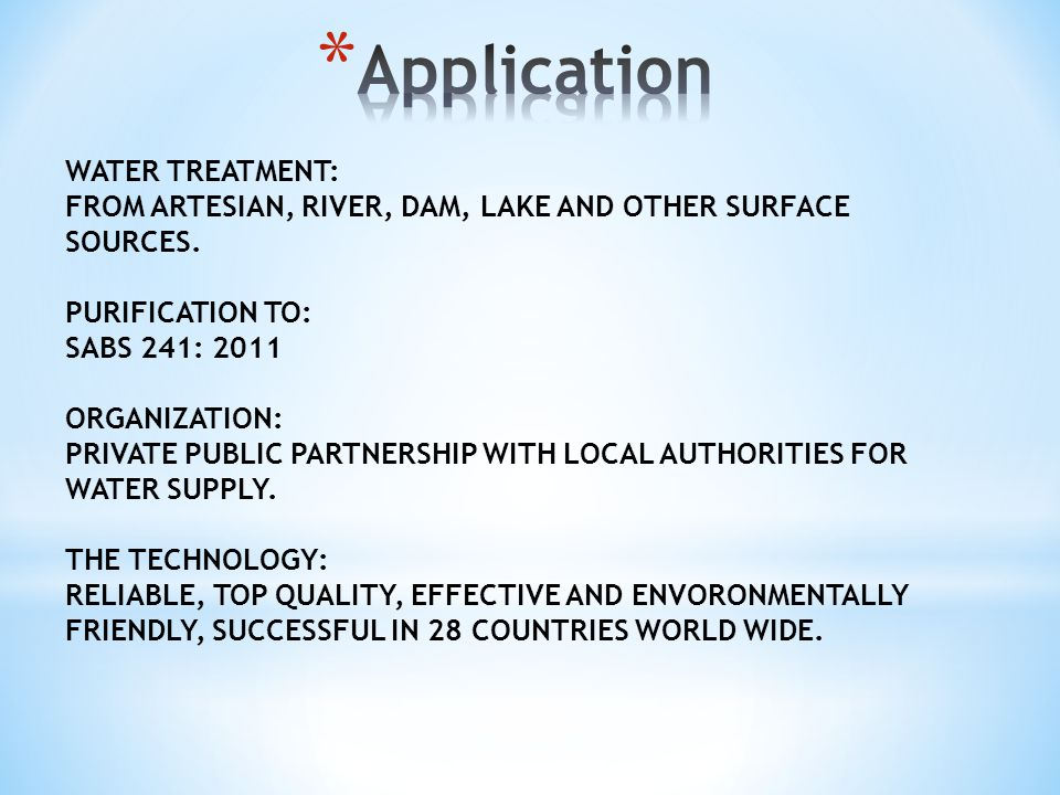 WATER TREATMENT: FROM ARTESIAN, RIVER, DAM, LAKE AND OTHER SURFACE SOURCES.