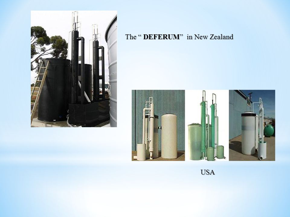 manufacturing and sales of DEFERUM , in Canada The first self-sufficient prefabricated DEFERUM plant Output: 700 m3 per day.