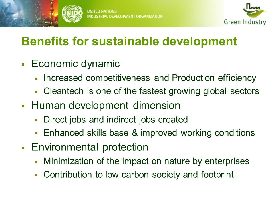 Benefits for sustainable development  Economic dynamic  Increased competitiveness and Production efficiency  Cleantech is one of the fastest growing global sectors  Human development dimension  Direct jobs and indirect jobs created  Enhanced skills base & improved working conditions  Environmental protection  Minimization of the impact on nature by enterprises  Contribution to low carbon society and footprint