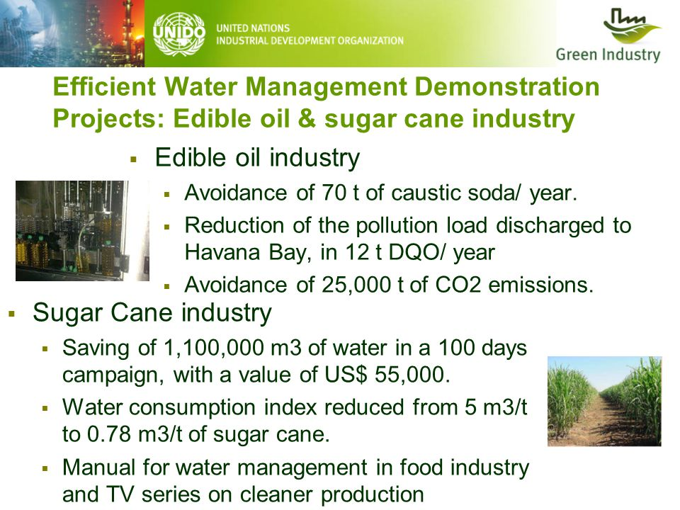 Efficient Water Management Demonstration Projects: Edible oil & sugar cane industry  Edible oil industry  Avoidance of 70 t of caustic soda/ year. 