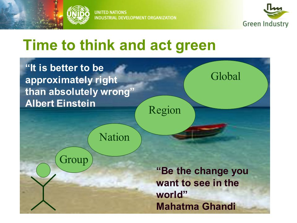 "Time to think and act green Group Nation Region Global ""Be the change you want to see in the world"" Mahatma Ghandi ""It is better to be approximately r"