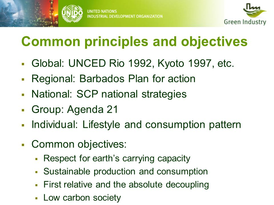 Common principles and objectives  Global: UNCED Rio 1992, Kyoto 1997, etc.