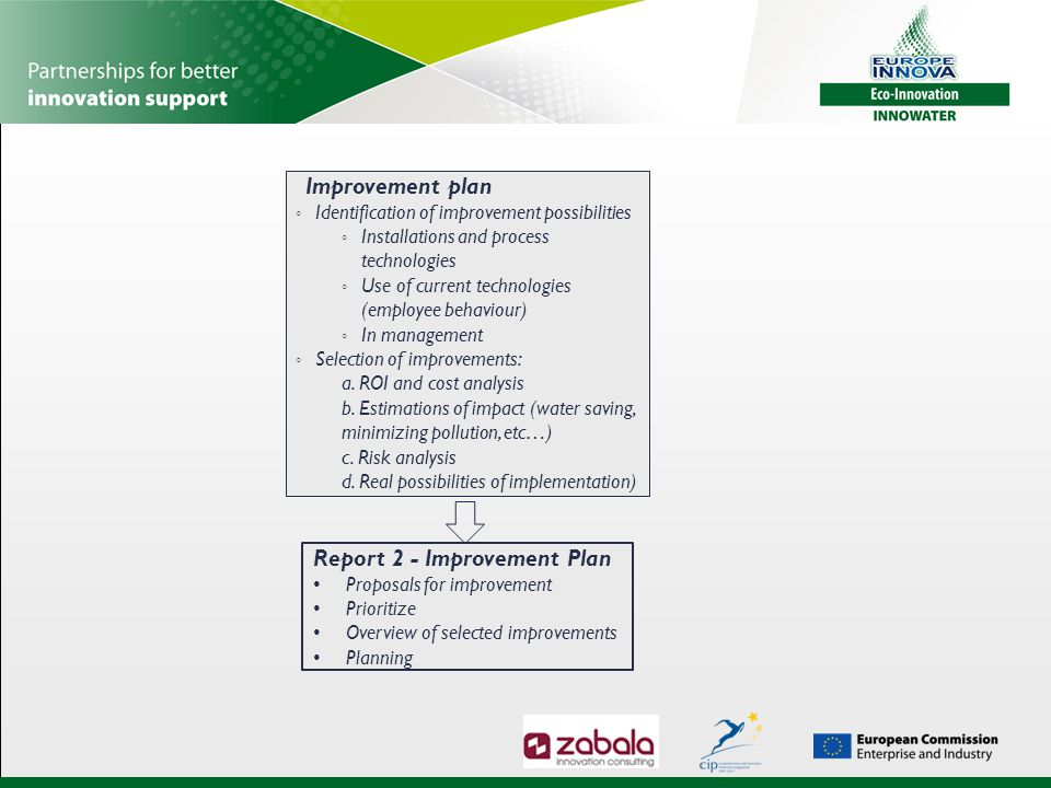 Improvement plan ◦ Identification of improvement possibilities ◦ Installations and process technologies ◦ Use of current technologies (employee behavi