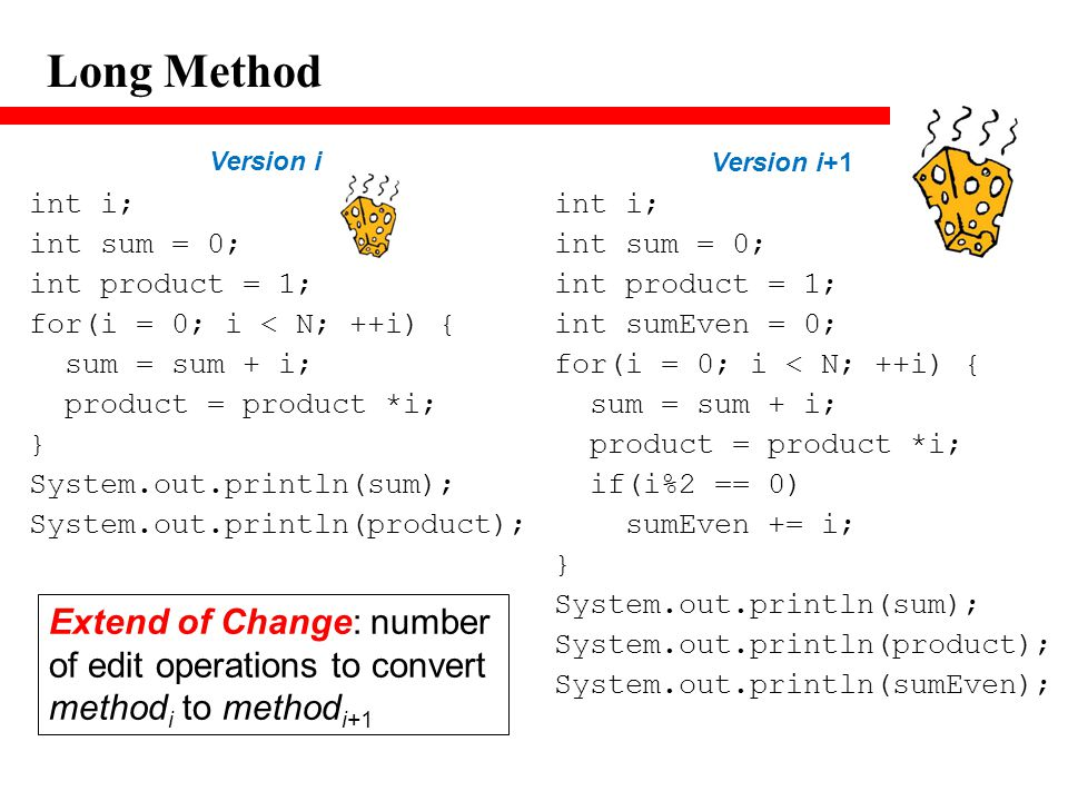 Long Method int i; int sum = 0; int product = 1; for(i = 0; i < N; ++i) { sum = sum + i; product = product *i; } System.out.println(sum); System.out.p