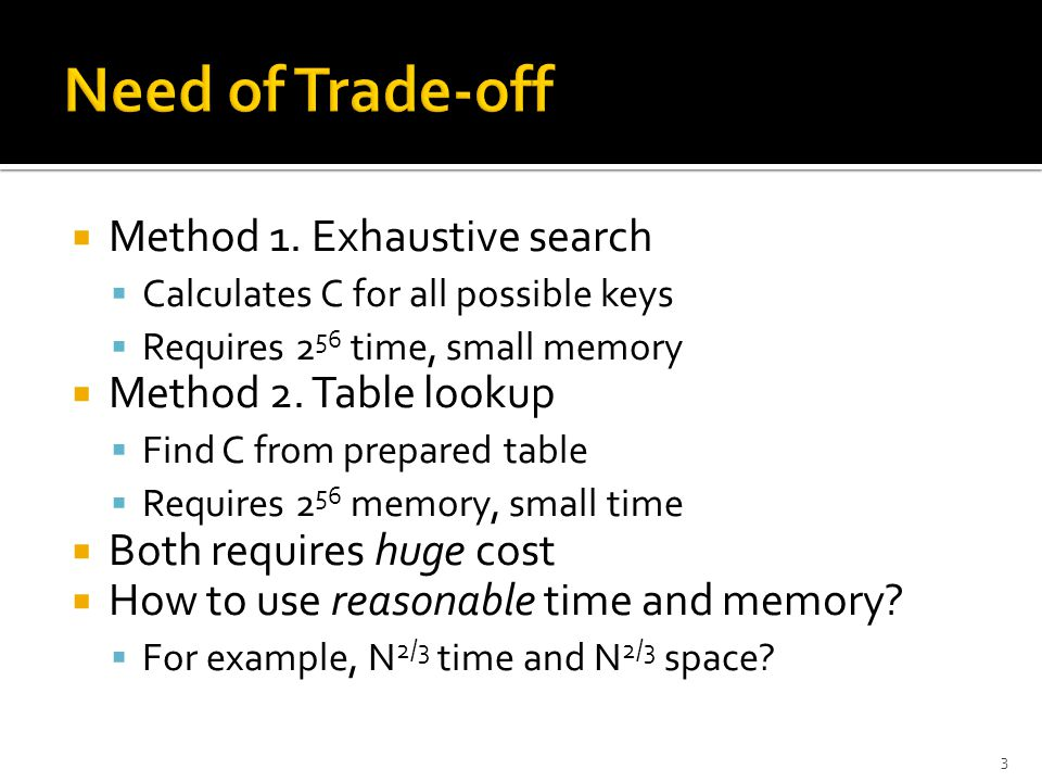  Method 1. Exhaustive search  Calculates C for all possible keys  Requires 2 56 time, small memory  Method 2. Table lookup  Find C from prepared