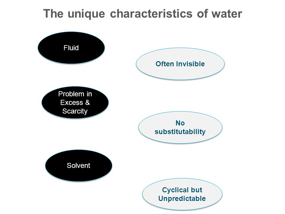 The unique characteristics of water Fluid Often Invisible Cyclical but Unpredictable No substitutability Solvent Problem in Excess & Scarcity