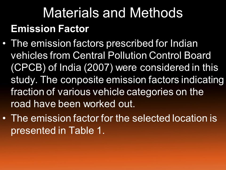 Materials and Methods Table 1: Emission factor for selected locations