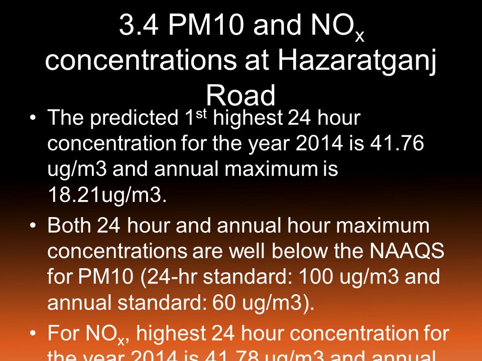 3.5 PM10 and NO X concentrations at Kalidas Marg The predicted highest 24 hour concentration for the year 2014 is 23.54 ug/m3 and annual maximum is 10.89 ug/m3 as shown in Table 3.