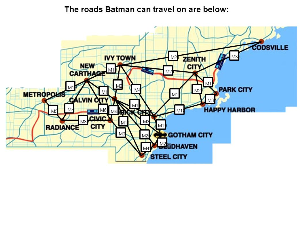 M3 M5 M8 M10 M36 M9 M11 M20 M19 M16 M60 M1 M15 M2 M4 M18 M17 M23 M37 M12 M35 M21 M24 M49 M25 M45 The roads Batman can travel on are below: