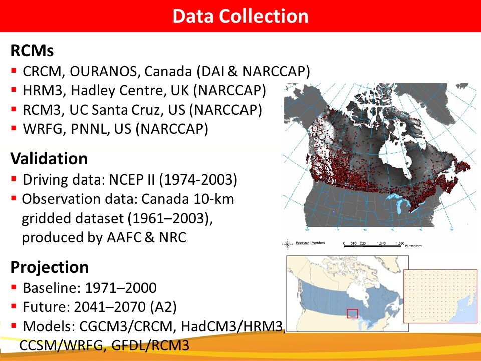 Data Collection RCMs  CRCM, OURANOS, Canada (DAI & NARCCAP)  HRM3, Hadley Centre, UK (NARCCAP)  RCM3, UC Santa Cruz, US (NARCCAP)  WRFG, PNNL, US (NARCCAP) Projection  Baseline: 1971–2000  Future: 2041–2070 (A2)  Models: CGCM3/CRCM, HadCM3/HRM3, CCSM/WRFG, GFDL/RCM3 Validation  Driving data: NCEP II (1974-2003)  Observation data: Canada 10-km gridded dataset (1961–2003), produced by AAFC & NRC