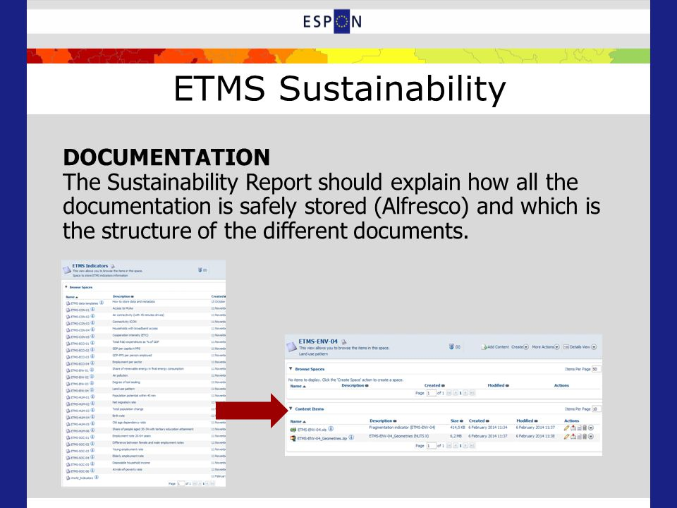 ETMS Sustainability DOCUMENTATION The Sustainability Report should explain how all the documentation is safely stored (Alfresco) and which is the structure of the different documents.