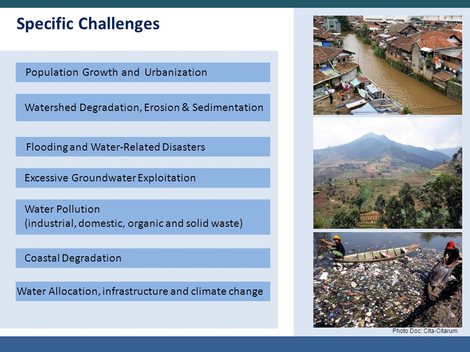 Specific Challenges Population Growth and Urbanization Watershed Degradation, Erosion & Sedimentation Flooding and Water-Related Disasters Water Pollu