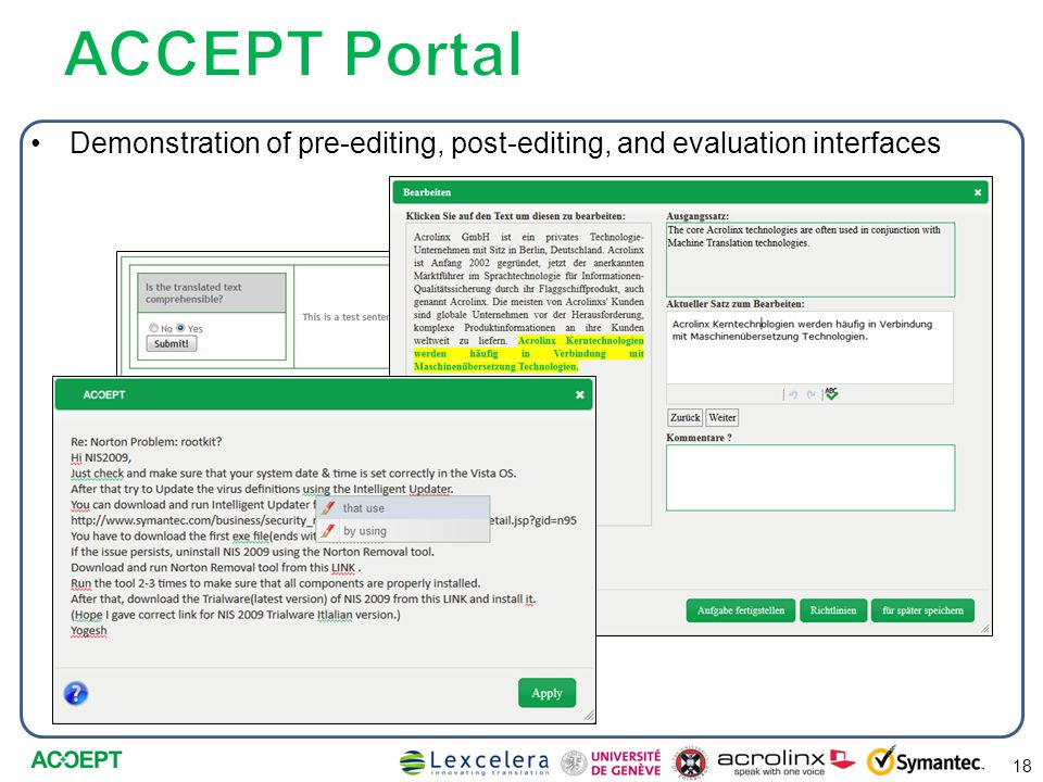 Demonstration of pre-editing, post-editing, and evaluation interfaces 18