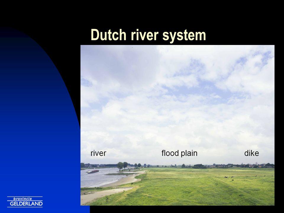 Dutch river system riverflood plaindike
