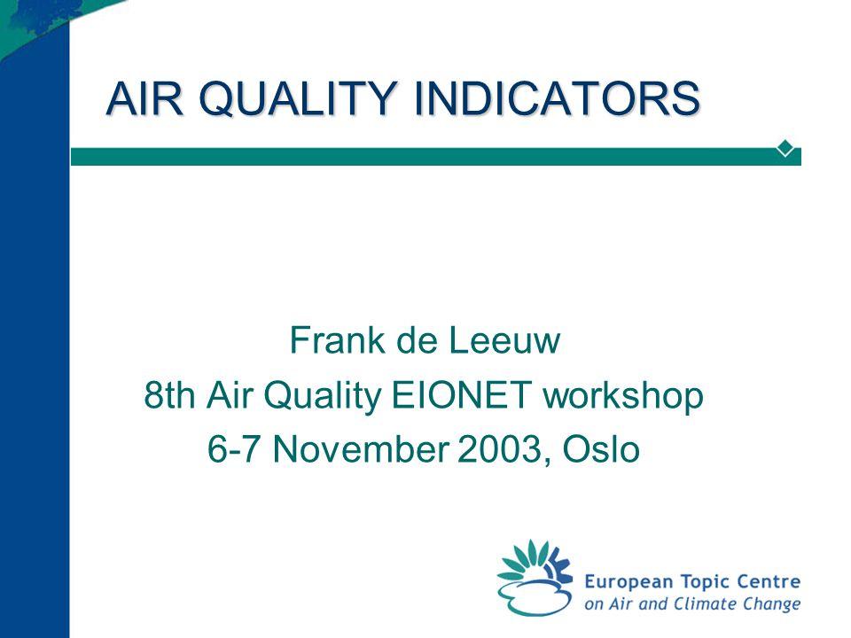AIR QUALITY INDICATORS Frank de Leeuw 8th Air Quality EIONET workshop 6-7 November 2003, Oslo