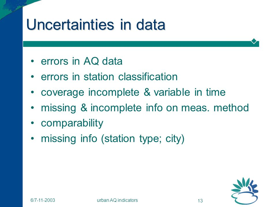 urban AQ indicators 13 6/7-11-2003 Uncertainties in data errors in AQ data errors in station classification coverage incomplete & variable in time missing & incomplete info on meas.