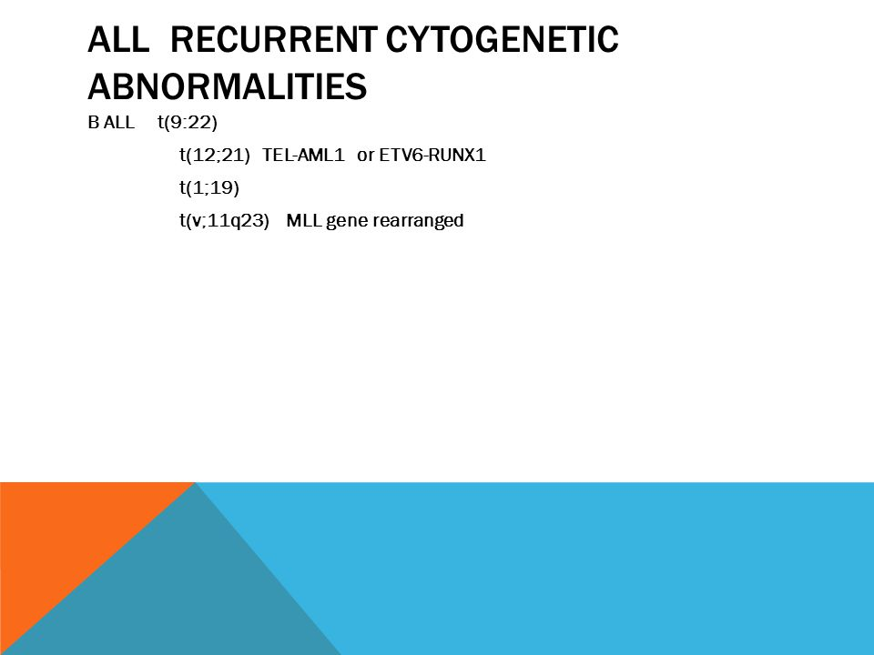 ALL RECURRENT CYTOGENETIC ABNORMALITIES B ALL t(9:22) t(12;21) TEL-AML1 or ETV6-RUNX1 t(1;19) t(v;11q23) MLL gene rearranged