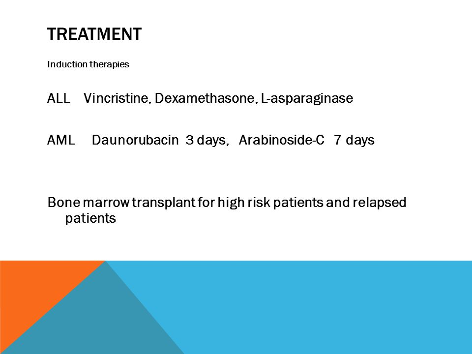 TREATMENT Induction therapies ALL Vincristine, Dexamethasone, L-asparaginase AML Daunorubacin 3 days, Arabinoside-C 7 days Bone marrow transplant for high risk patients and relapsed patients